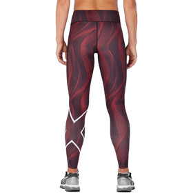 2XU Print Mid-Rise Compression Tights Women, red/white